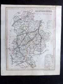 Dugdale & Archer C1840 Hand Col Map. Bedfordshire, UK